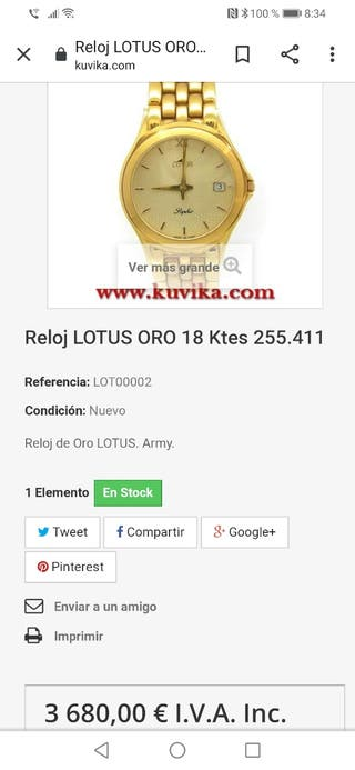 Reloj Lotus de oro 18K