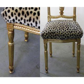 Silla Estilo Luis XV Tallada Dorado Leopardo