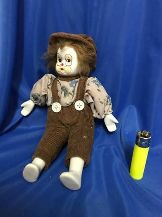 Muñeco payaso, cara porcelana, pintado a manp