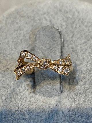 Anillo Artdeco lazo oro rosa y diamantes