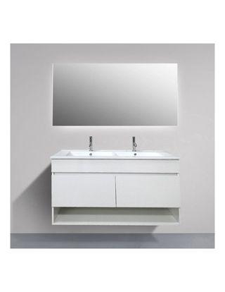Mueble de baño 120 cm, lavabo de dos senos, espejo