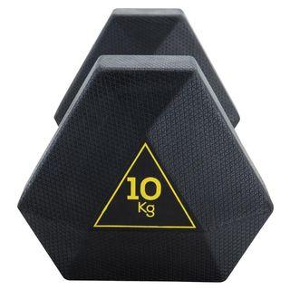 Par Mancuernas hexagonales 10kg de caucho