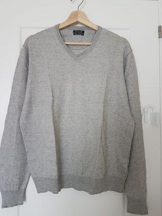 Jersey fino de cashmere gris