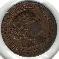 Moneda de 1/2 céntimo de Escudo Isabel II 1868
