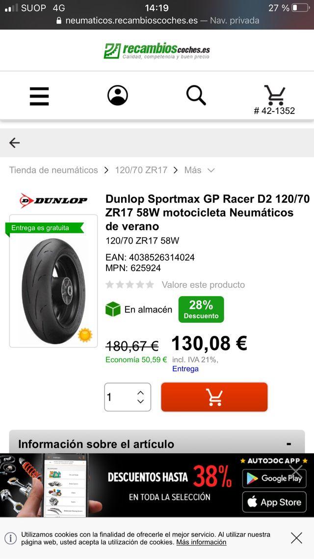 120/70 ZR 17 Dunlop Neumatico.