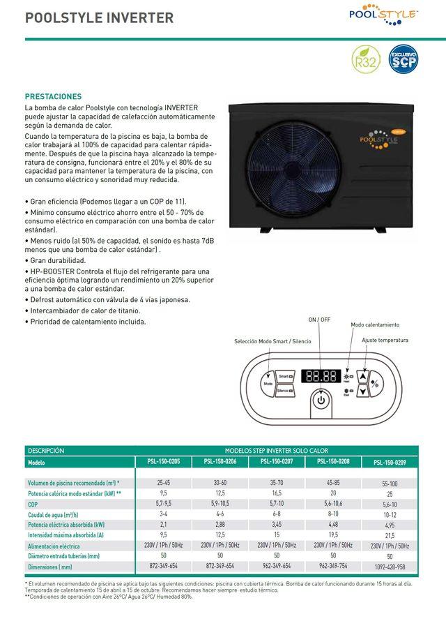 Bomba de Calor PIscina 56M3 INVERTER R32 16,5KW