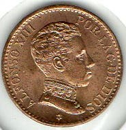 Moneda 1 céntimo Alfonso XIII 1906 Ceca Madrid