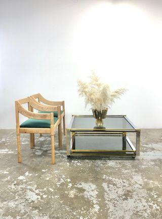 Mesa centro latón, cromo y vidrio