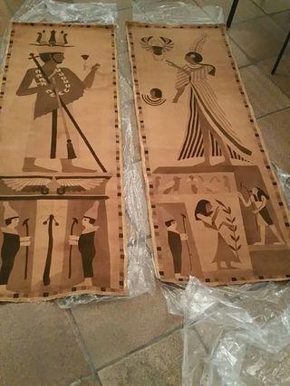 pareja de tapices egipcios terciopelo