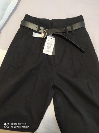 pantalón tiro alto o baggy talla 38 negro