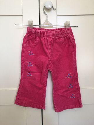 Pantalón de pana niña, fucsia, talla 6-9 meses