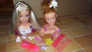 2 muñecas busto para peinar y maquillar