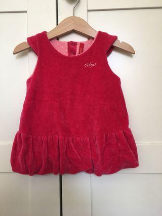 Vestido niña ,fucsia tela niqui, talla 74, 6 meses