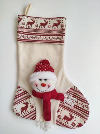 Bota navideña, muñeco de nieve