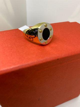 sello oro bicolor sello oro 18k oval onix