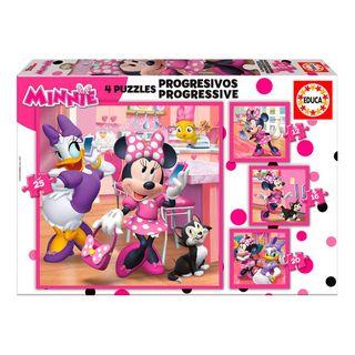 EDUCA, 4 Puzzles Minie Mouse Disney Progresivos