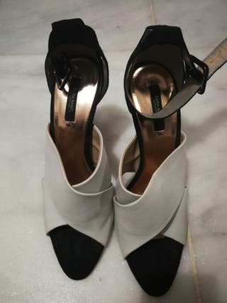 Zapatos tacon blanco y negro 40