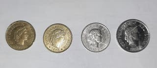 Lote 4 monedas Suizas.