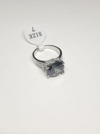 925S.S Engagement Rainbow Topaz Promise Ring