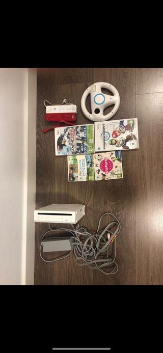 Wii dos mandos volante y juegos