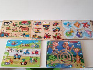 Pack de puzzles de madera y uno magnético