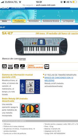 TECLADO/ Piano electrónico Casio SA-67