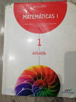 Matemáticas de 1 de bachillerato editorial Anaya