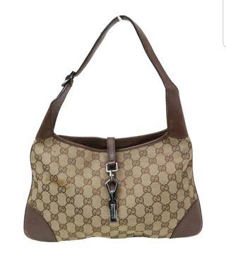 bolso tela y piel Gucci