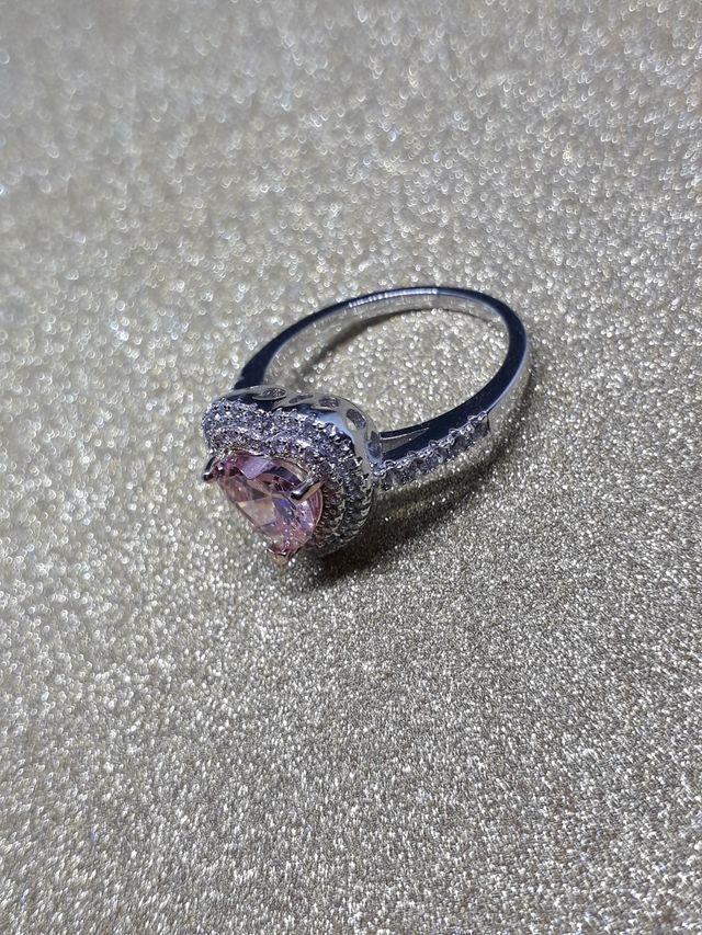 925S.S Ring Heart Pink Topaz Diamond Lover