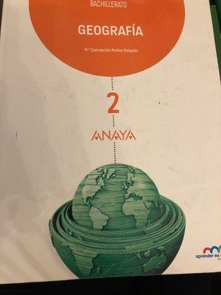 Libro geografía 2 bachillerato Anaya y cuadernillo