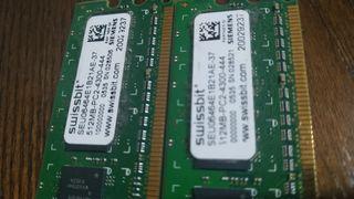 PACK DE 2 MEMORIAS RAM DE 512 MB