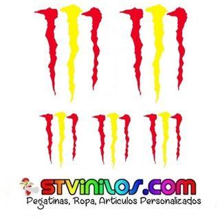 pegatinas garras monster con bandera españa