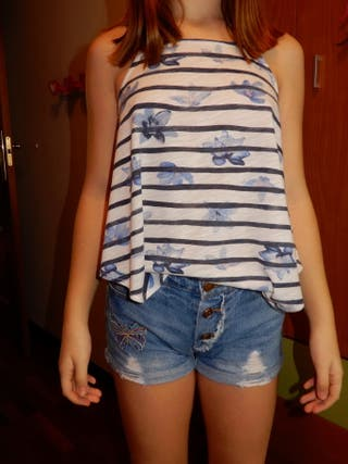 Shorts Lefties vaquero y camiseta H&M niña 10-12
