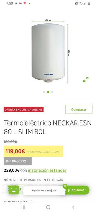 termo eléctrico NECKAR calentador de agua