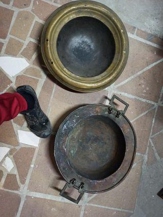 lote 2 antiguo brasero de siglo XIX