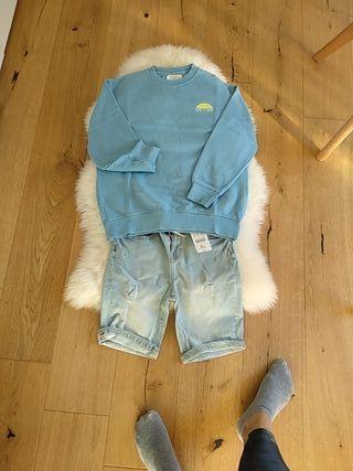 Conjunto niño sudadera y pantalón vaquero talla 10