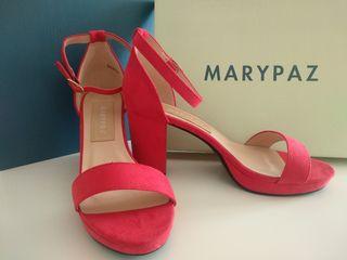 Sandalias tacón ancho rojas (Marypaz talla 38)