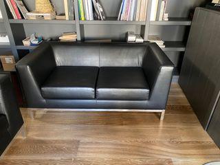 Sofa + butaca de piel negra