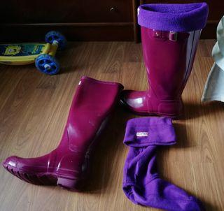 botas hunter con calcetines gorditos hunter