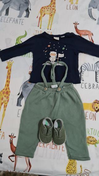 Peto+camiseta+zapatillas bebé