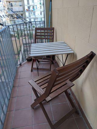 Mesa y 2 sillas plegable jardín / terraza