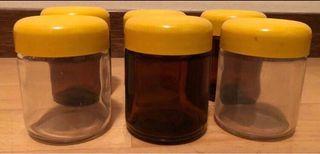 6 vasos botes de cristal yogurtera.Como nuevo