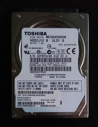 Disco duro 2,5 Toshiba 500Gb