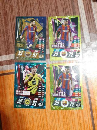Cromos Ansu Fati, Messi y Haaland.