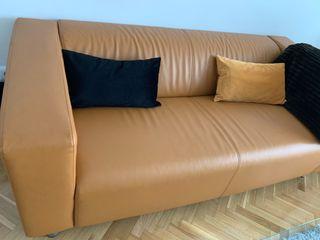 Sofá de piel camel / chester largo 180.cm