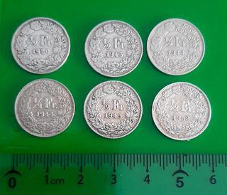 6 monedas suizas de plata