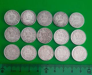 15 monedas suizas de plata