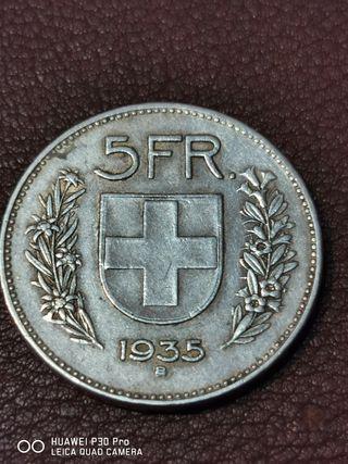 5 francos suizos 1935 plata