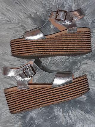 sandalia plata