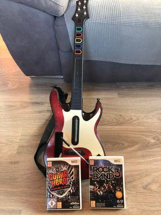 Guitar Hero Wii (guitarra, bateria y juegos)
